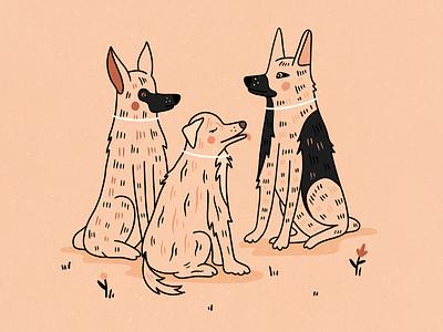Doggos pink texture pets dog illustration lineart dog illustrator hand drawn procreate design illustration
