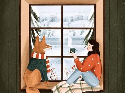 Cozy Nook snow winter window coffee cozy fox woman lady illustrator people hand drawn procreate design illustration