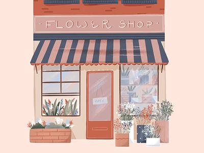 Flower Shop shop pastel brushes texture botanical flower shop flowers graphic design hand drawn procreate design illustration