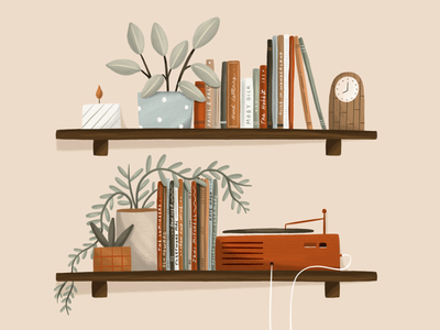 Shelfie decor home music records brush texture botanical illustration plants books shelf hand drawn procreate design illustration