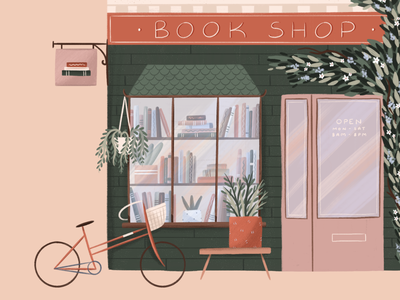 Book Shop plant building window bike bookstore bookshop books floral flowers illustrator hand drawn procreate design illustration
