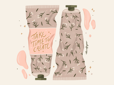 Take Time to Create handlettering lettering botanic illustrator texture paint flowers hand drawn procreate design illustration