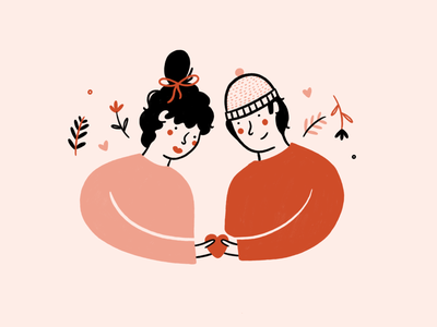 My Valentine couple red pink valentine love graphic design floral woman flowers lady people illustrator hand drawn procreate illustration