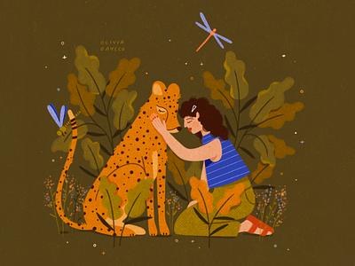 Cheetah Girl woman earth cat botanical animal cheetah texture flowers people illustrator hand drawn procreate design illustration