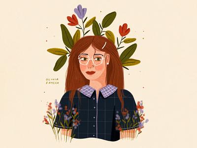 Flower Hair glasses red hair face portrait texture woman flowers people illustrator hand drawn procreate design illustration