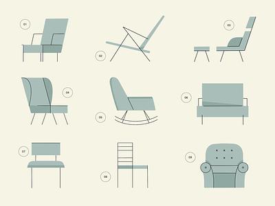 Chair Types line art minimal modern home apartment decor living room chair furniture illustrator hand drawn procreate design illustration