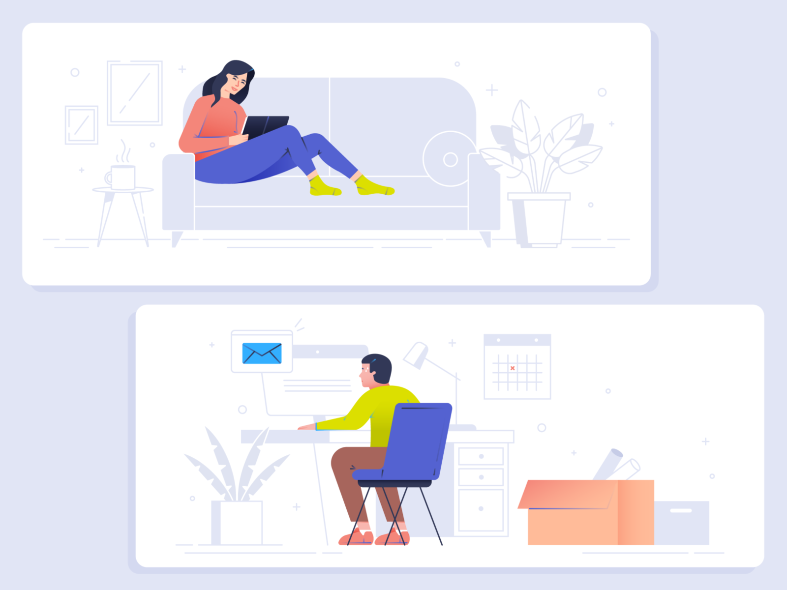 Tips to Soothe Stress office living room couch reading line gradient vector line art working at home stress people illustrator design illustration