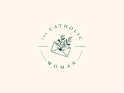 The Catholic Woman catholic church brand logo design concept minimal design envelope floral brand design logo design branding