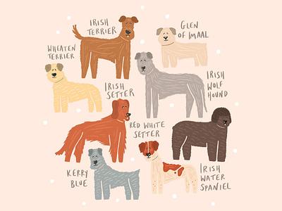 Irish Pup Breeds irish dog irish breed puppies pup pet illustration pet dog illustration dog illustration