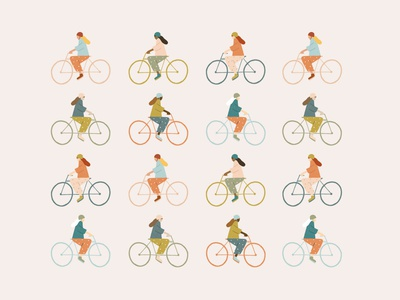 Spring Bikers outdoors sports spring biking woman biking lady bikers bike illustration biker illustration bikers bikes bike illustration