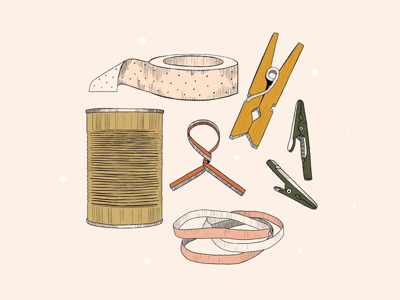 Junk Illustrations twist tye rubber bands alligator clips tin can clothespin washi tape lineart hand drawn editorial illustration editorial design magnolia journal junk drawer illustration