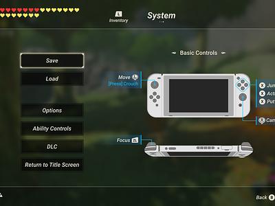 Zelda BOTW - System Page UI vector design zelda ui figma