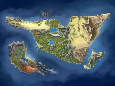 World Map Illustration world dnd procreate drawn by hand map illustration