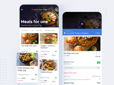 Zomato Meals For One figma dribbble best shot mealsforone food shot minimal app interaction design ui ux ux ui inspiration design