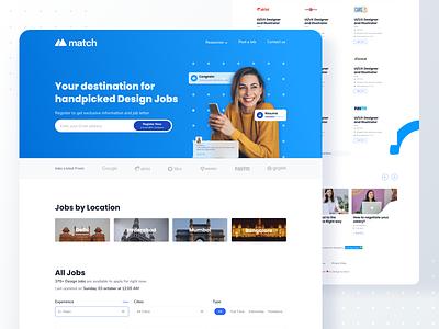 Match Homepage job board hiring website dailyui shot app minimal interaction design ui ux ui ux inspiration design