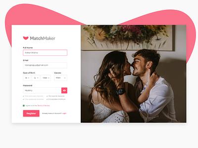 Sign Up for MatchMaker Dating Website - Daily UI #001 dailui dailyui 001 dating website sign up ui ux app ux shot inspiration ui design
