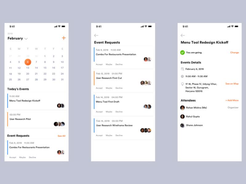Events on Calendar Flow vector sketch branding website dailyuichallenge dailyui shot app ui ux minimal interaction design ux ui inspiration design