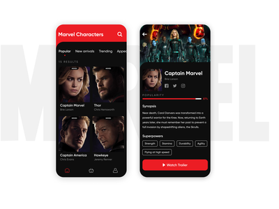 Marvel Characters dark ui avengers marvel clean dribbble creative concept color characters typography dailyui shot minimal ui app interaction design ui ux ux inspiration design