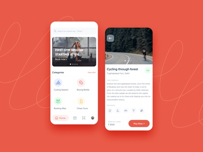 Sports and Fitness App UI Exploration