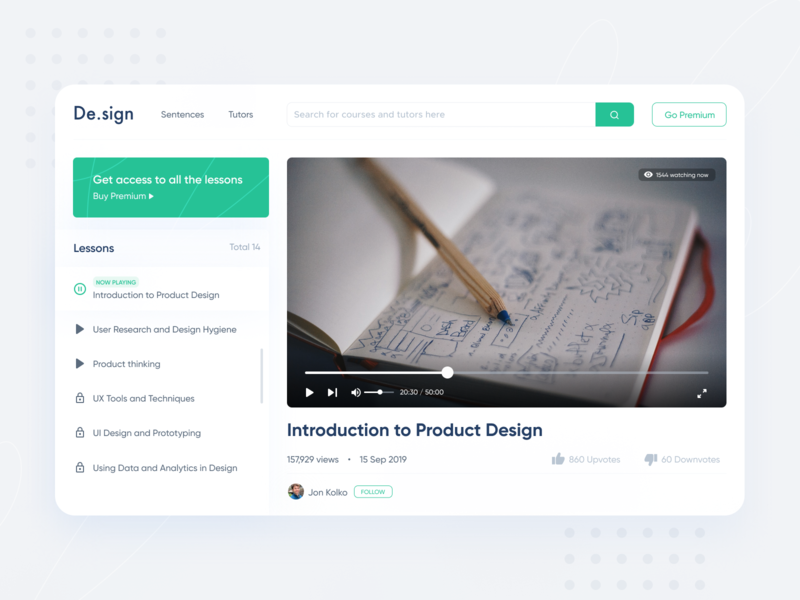 Design Courses Platform video website typography dailyui shot minimal ui app interaction design ui ux ux inspiration design