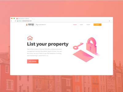 Real Estate Owner Page exploration realestate website experience interaction red uiux illustration