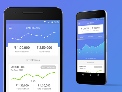 Wealthy Dashboard app android investment dashboard gradient interaction uiux
