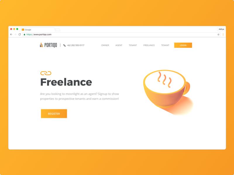 Real Estate Freelance Page orange exploration realestate website experience interaction illustration uiux