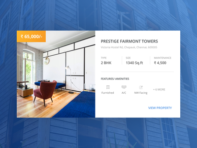 Featured Property Card icons ecommerce india cards blue realestate website experience interaction uiux