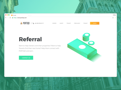 Referral Page web experience key realestate isometric gradient green neon website interaction illustration uiux
