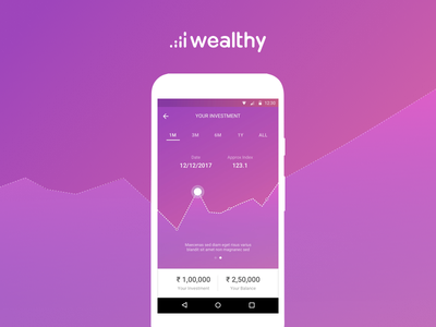 Investment Graph for Wealthy Dashboard design color finance android banking investment ux materialdesign gradient graph uiux