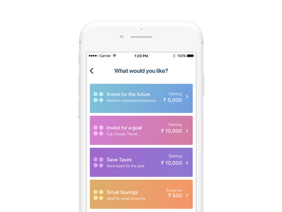 Wealthy iOS App Home Page WIP design color finance ios banking investment ux gradient uiux