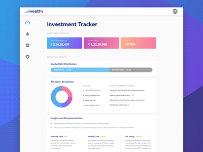Investment Tracker india design dashboard wealthy money investment chart gradient ui