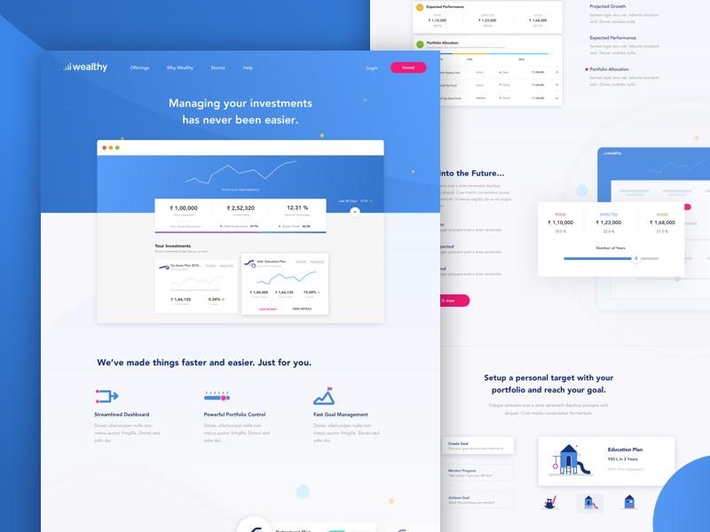 Dash Landing banking india dashboard interaction investment website gradient design uiux