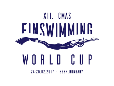 XII. CMAS Finswimming World Cup Logo logo diver blue waves underwater finswimming diving championship world cup