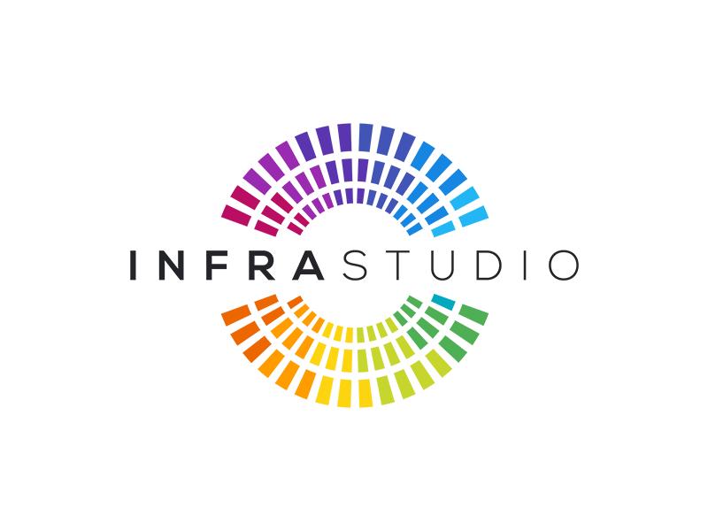 Infra Studio Logo rainbow center spectrum logo colorful