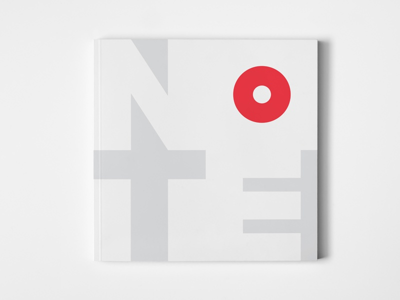 NOTE Notebook minimalism negative space print notebook note gray red circle dot typography