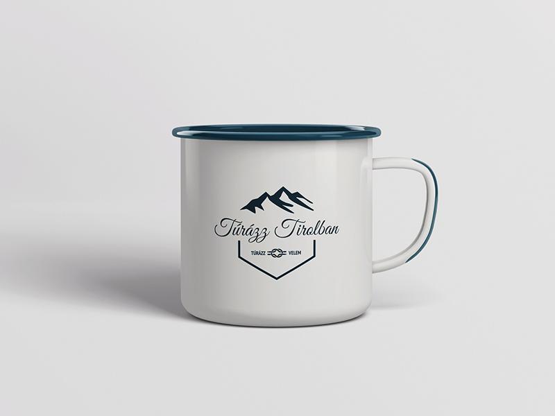 Enamel Mug with Hiking Logo ropes hexagon mountains hills blue logo hiking mug enamel