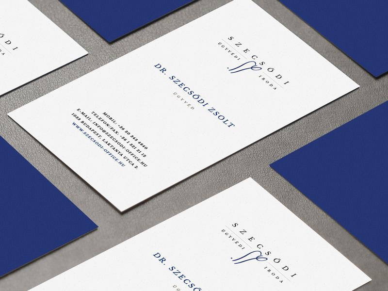 Szecsodi Law Firm Business Card serif blue lawyer law firm business card