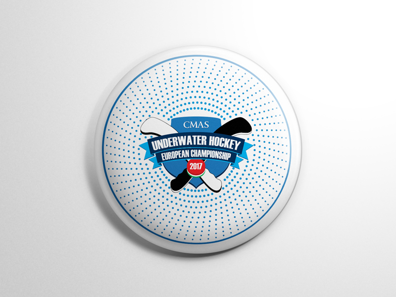 Badge for UWH2017 blue shield circle badge championship hockey underwater