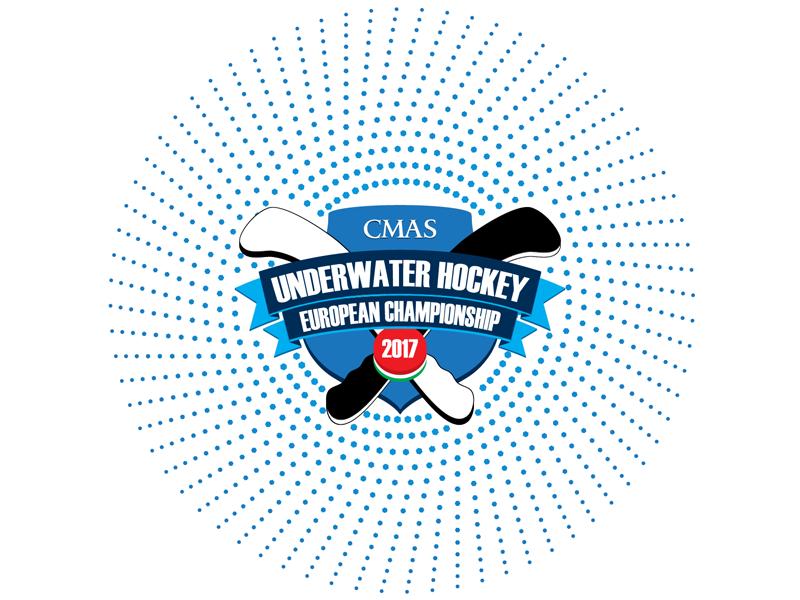 Logo for UWH2017 underwater shield hockey dots circle championship blue