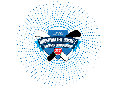 Logo for UWH2017 underwater shield hockey dots circle championship blue