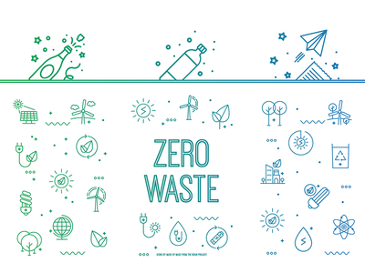 Zero Waste - Selective Waste Bins glass plastic paper environmental gradient icons bins selective waste