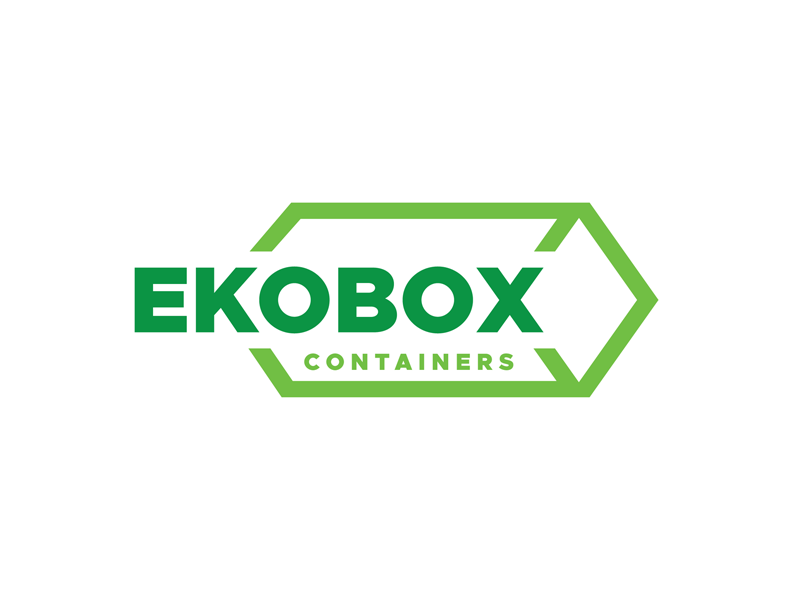 Ekobox Containers Logo geometry container box eko green logo