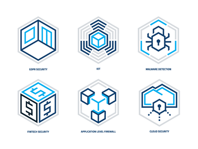 Balasys / Security Solutions Icons icon set iconset icon hexagon isometric geometry