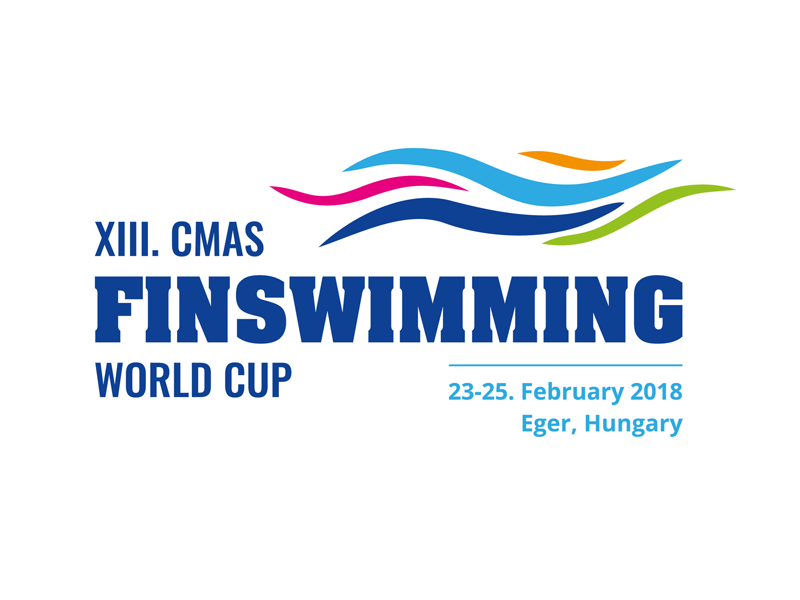 XIII. CMAS Finswimming World Cup Logo colorful blue waves logo world cup championship finswimming diving