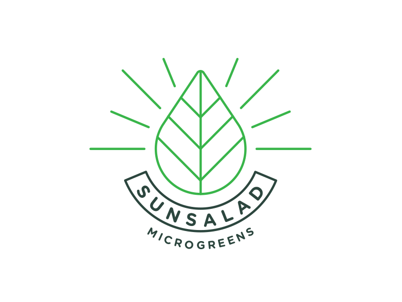 Sunsalad Microgreens Logo bio eco green microgreen sunsalad thin line leaf sun