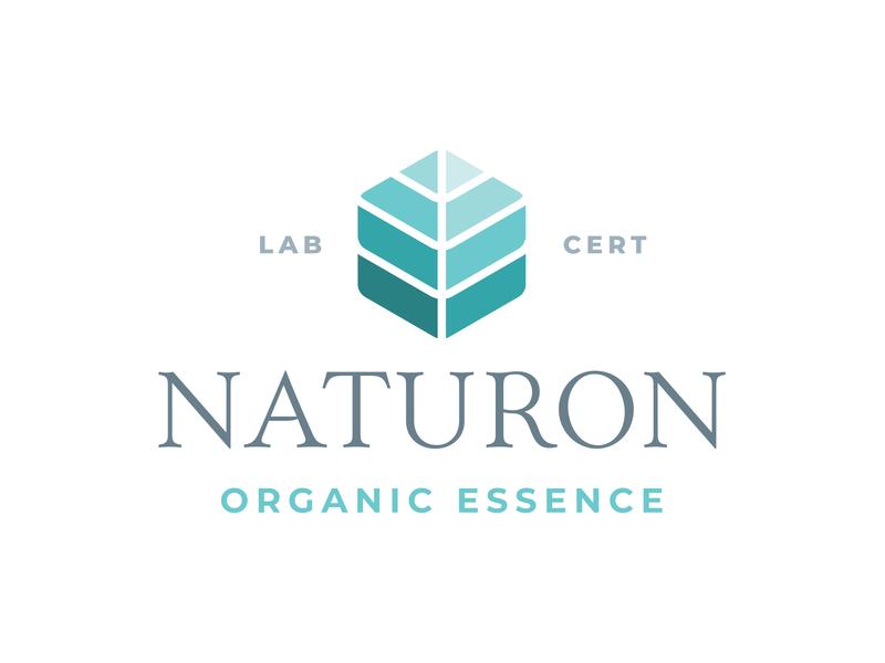 Naturon Organic Essence Logo linear fade organic nature leaf leaf logo blue bio geometry branding hexagon turquise green logo