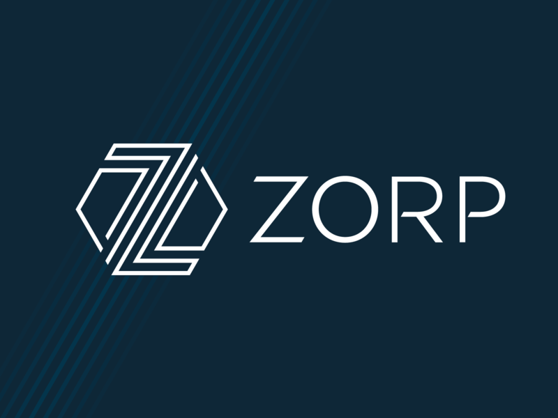 ZORP logo lines design geometry branding hexagon blue logo