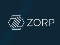 ZORP logo lines design geometry branding hexagon blue logo
