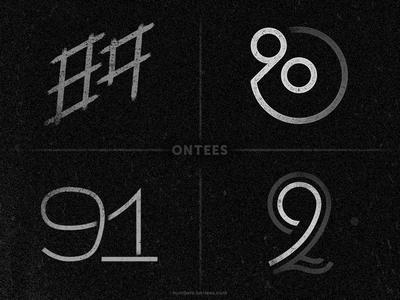 Numbers 89 to 92 on tees